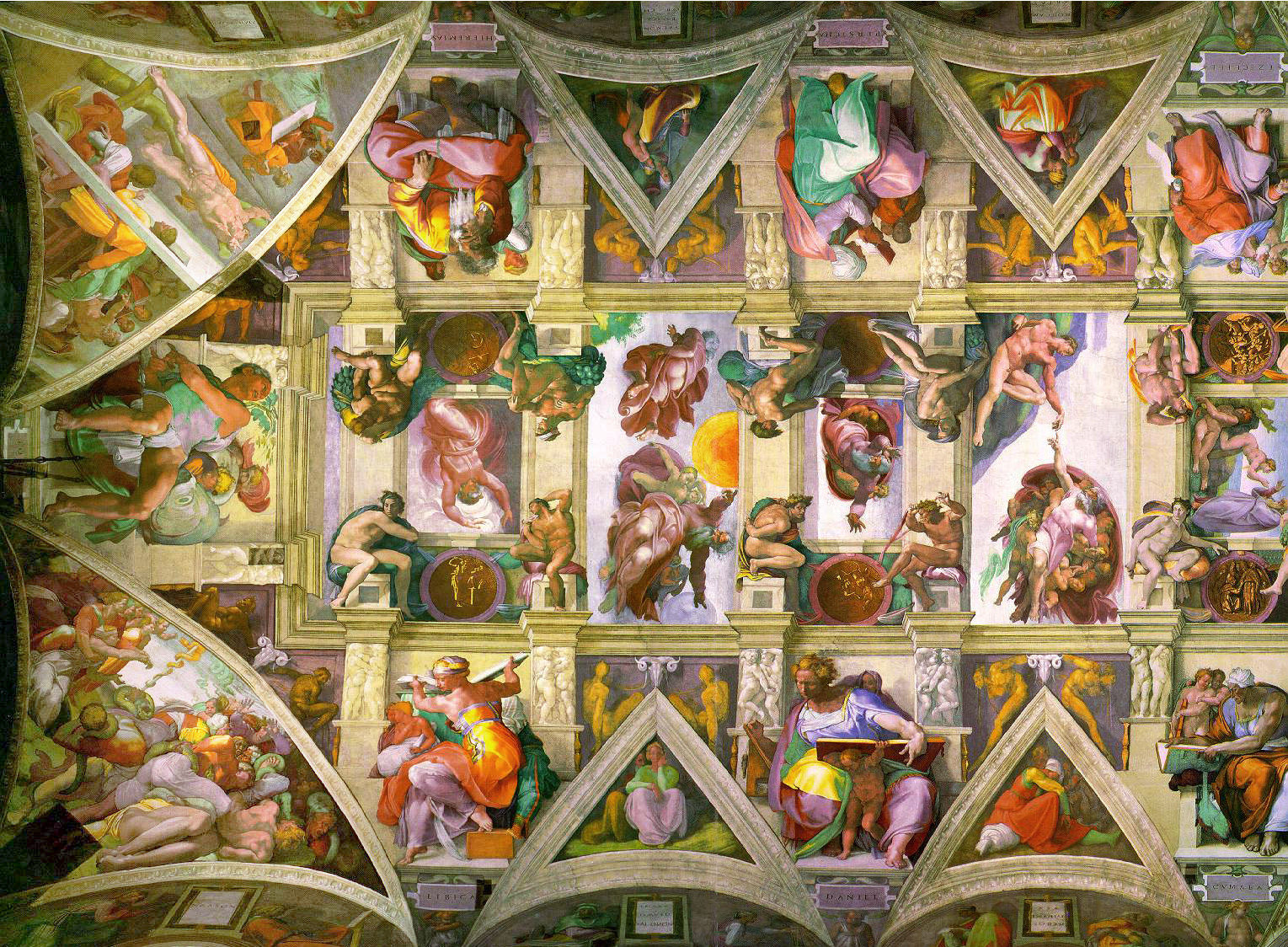 the sistine chapel The frescoes of the sistine chapel are often viewed as a striking study in the contrast between the middle and high renaissance styles on the one hand, the scenes painted on the chapel's walls by botticelli, ghirlandaio, perugino, rosselli, and signorelli (1481-82), which depict parallel events in the lives of moses and jesus (and .
