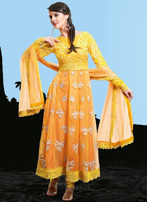 Simple Net Pakistani Yellow Salwar Kameez