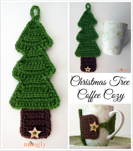 ergahandmade: Christmas Tree Coffee Cozy + FreePattern