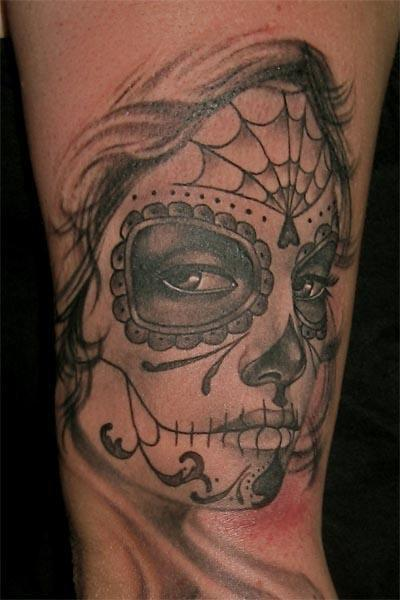 catrina aztec tattoo lock and key sugar skull tattoo sugar skull ...
