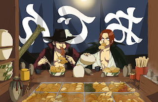 One Piece Dracule Mihawk Red Haired Shanks Anime Eating Swords HD Wallpaper Desktop Background