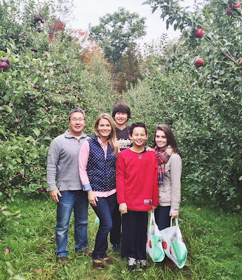 fall, apple picking, family