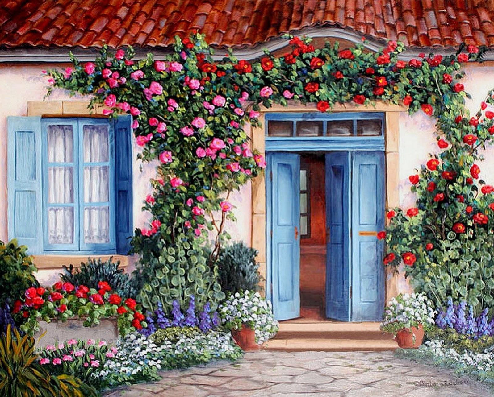 Cuadros modernos pinturas y dibujos barbara rosbe arte work - Casas viejas al oleo ...