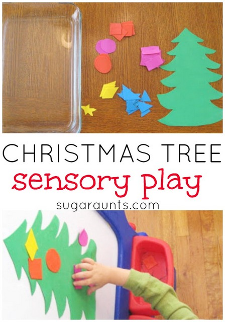 Christmas Tree Sensory Play for learning colors, shapes. This is great for Toddlers and Preschoolers!