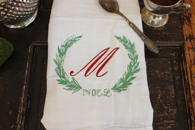 Christmas monogrammed towel