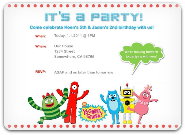Parties! Yo Gabba Gabba Invitations