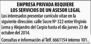 Empresa privada requiere un Asesor Legal