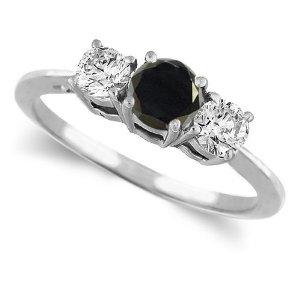 14K White Gold Round 3 Stone Black Diamond & White Diamond Ring
