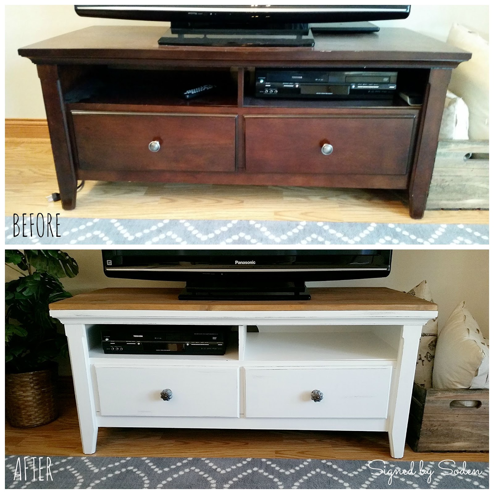 DIY Rustic Coffee Table and TV Stand Makeover Signed by Soden
