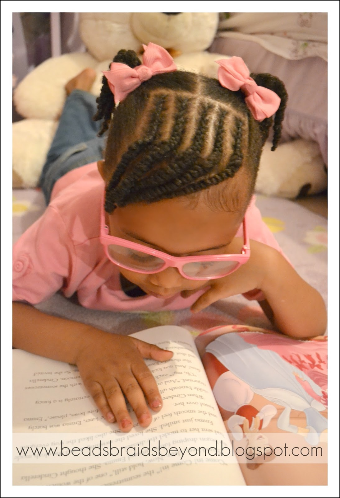 Little Girls Natural Hairstyle Cornrows Twisted Bangs With