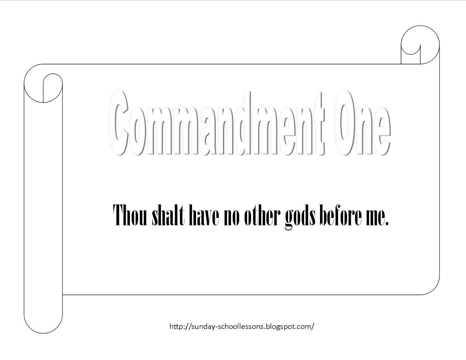 10 Commandments Coloring Page - Number One ~ Sunday School Lessons ...