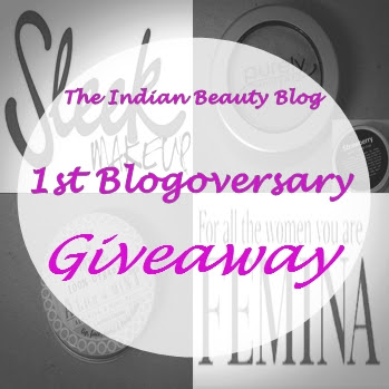 First Anniversary giveaway by The Indian Beauty Blog