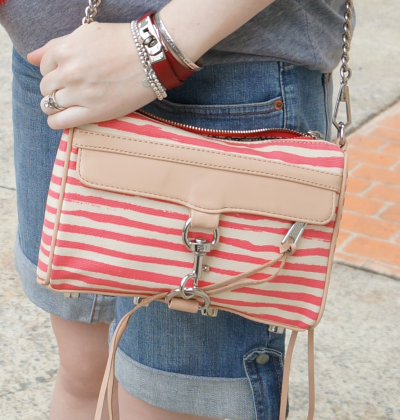 Rebecca Minkoff coated canvas mini MAC bag in berry stripe hermes kelly rubis bracelet