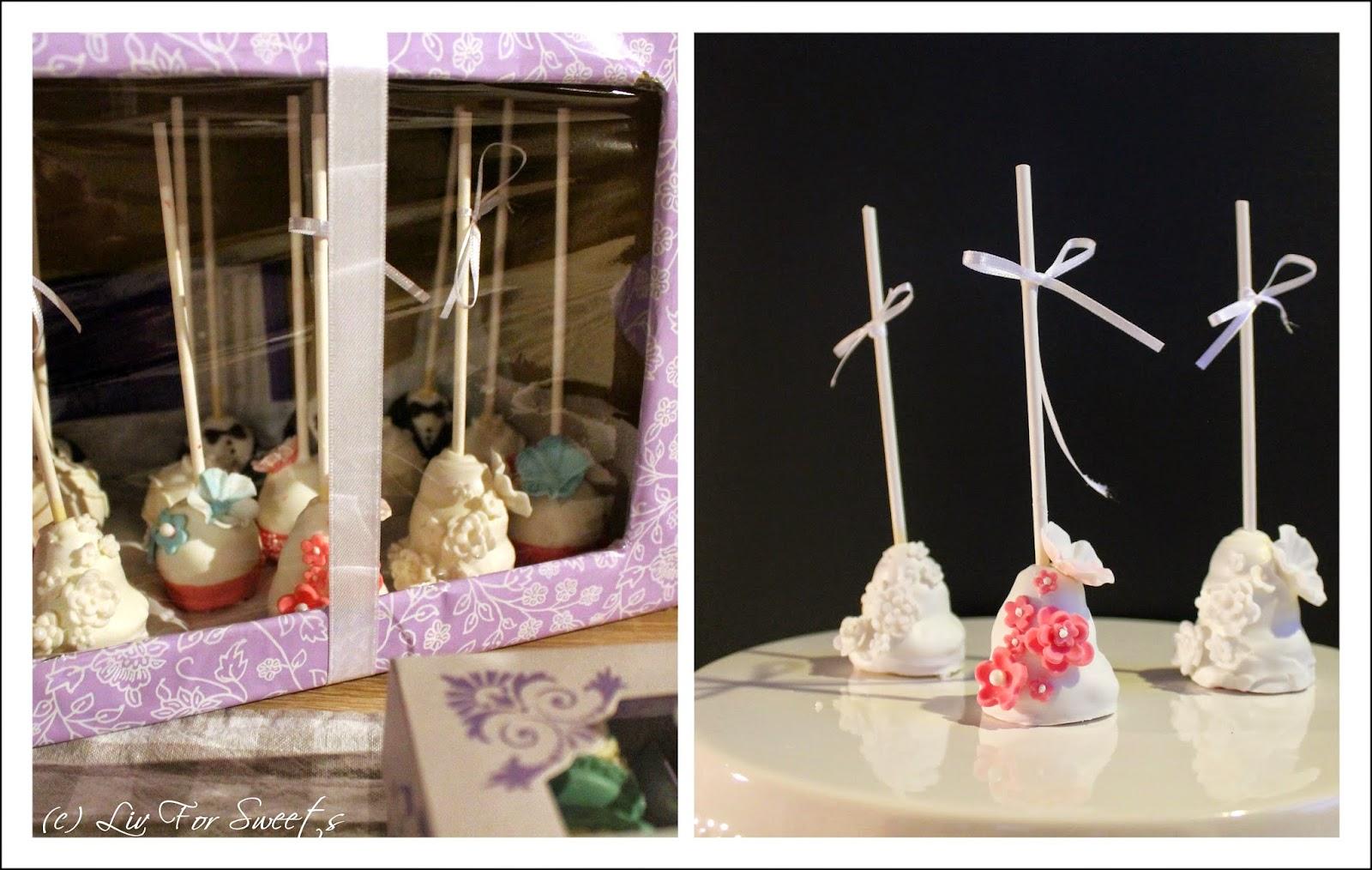 Cake-Pops als mehrstöckige Hochzeitstorte mit Fondant-Blumen + Transportbox für Cake-Pops