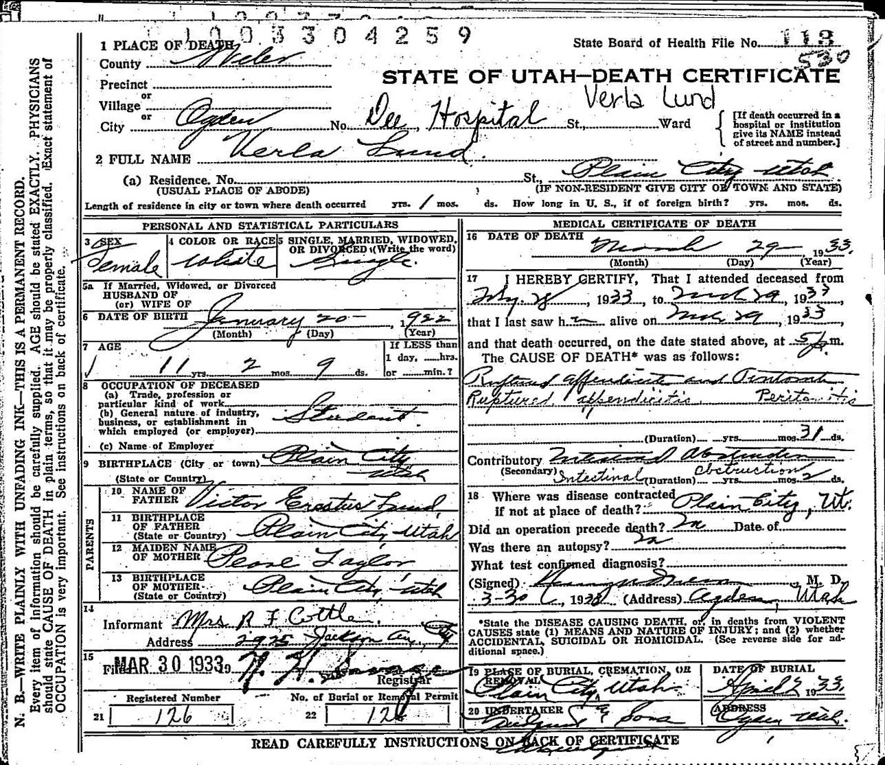 Deathcertificate lundverlag in the 1930 census she was 8 years old how did she die to find out i went to the utah state archives and found her death certificate xflitez Image collections