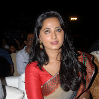 Anushka from mirchi audio launch in saree