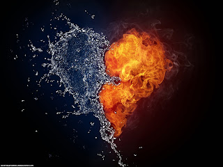 Water and Fire Love Heart Wallpapers