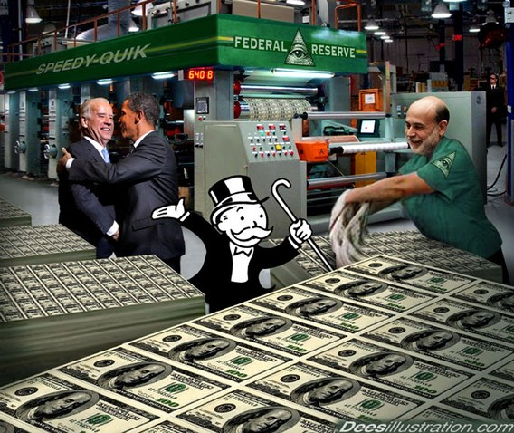 Bernanke prints money with Obama and Biden watching