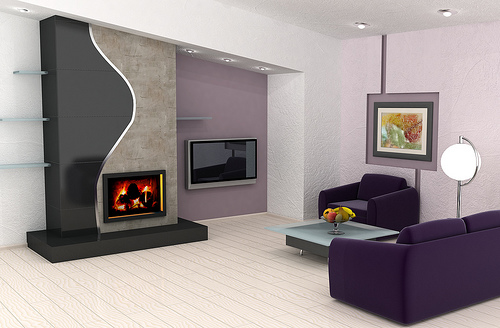 Purple theme colored living room design designs for home for Purple living room designs