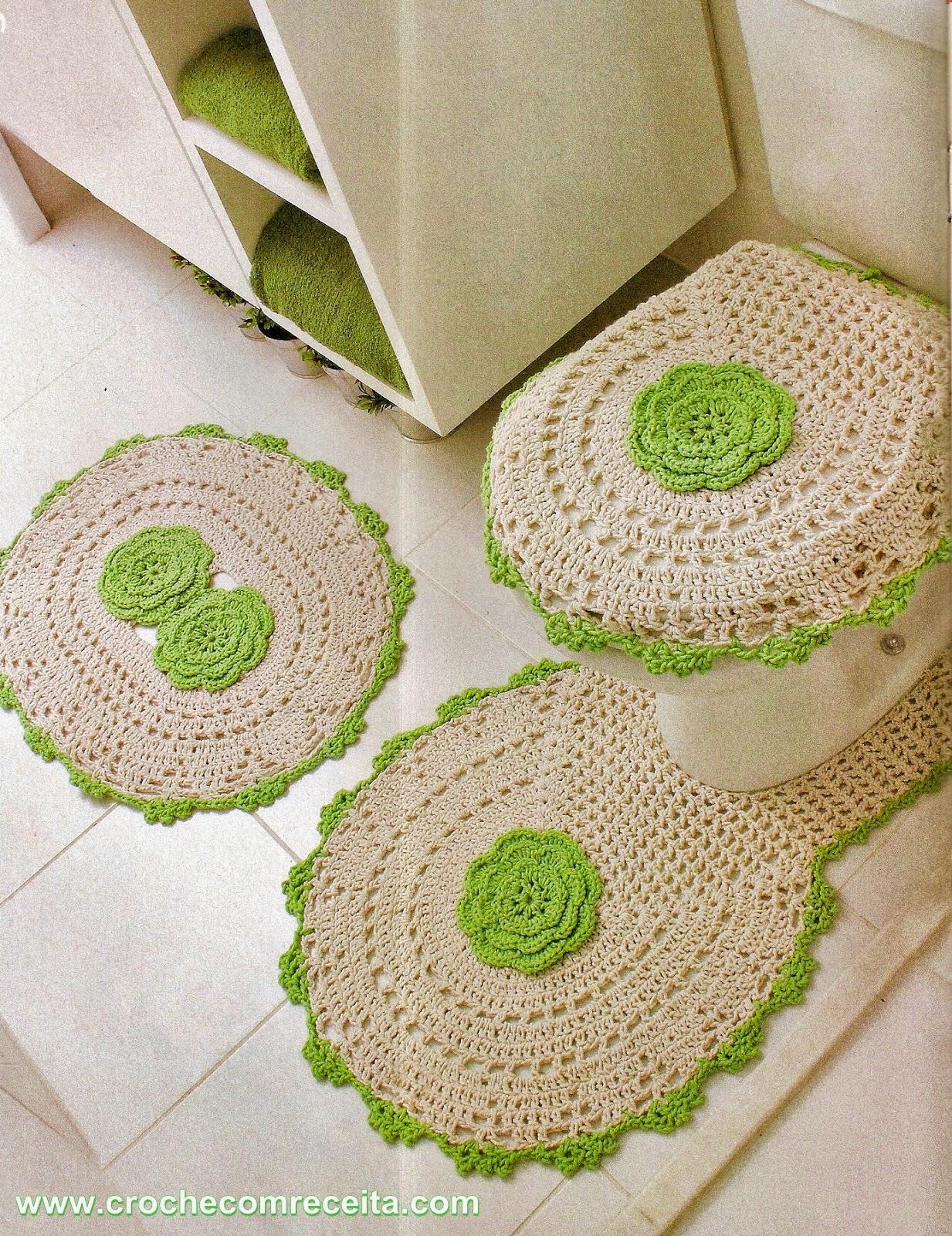 Croche com receita tapetes para banheiro com flores em croch for Clases de tapetes