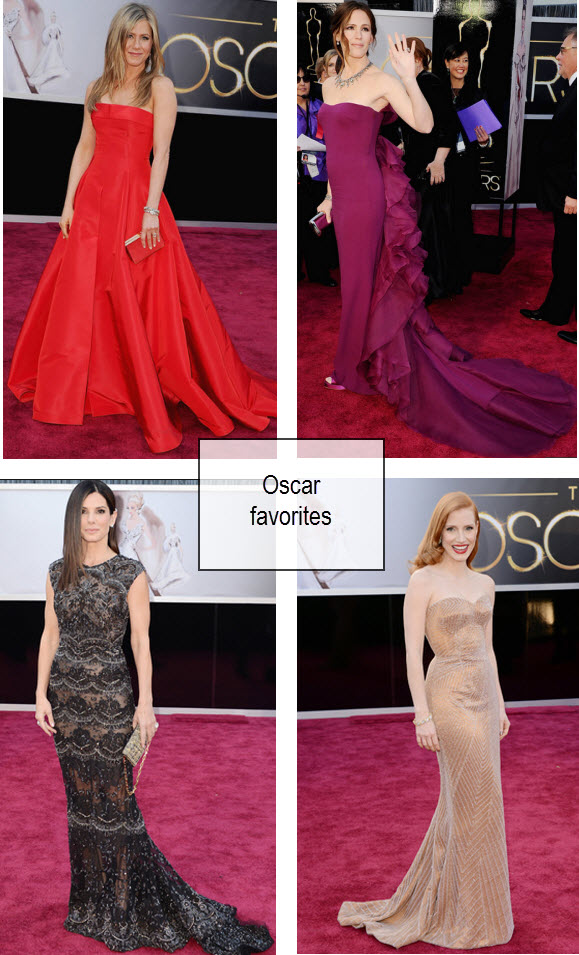 Jennifer Aniston Oscars, Jennifer Garner Oscars, Sandra Bullock Oscars, Jessica Chastain Oscars, Oscars 2013