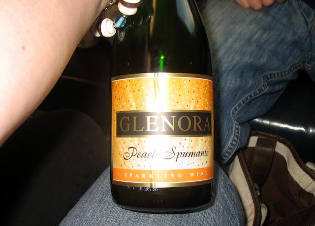 A bottle of Glenora Peach Spumante