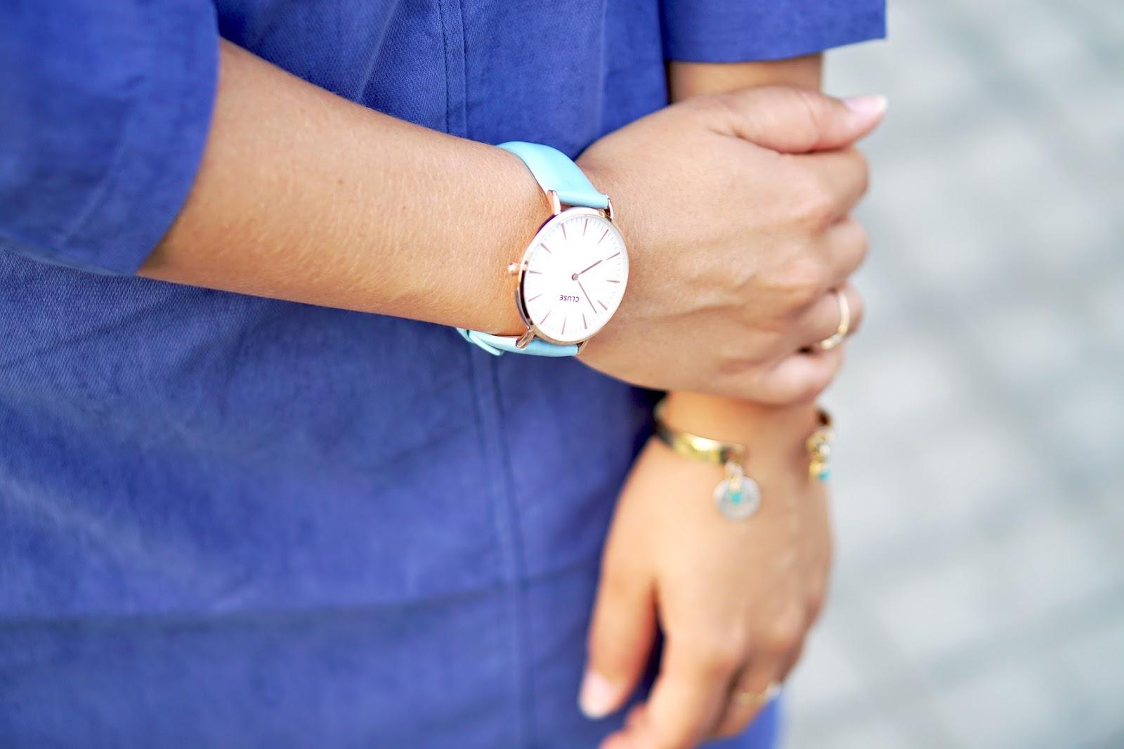 Montre Cluse bracelet cuir bleu