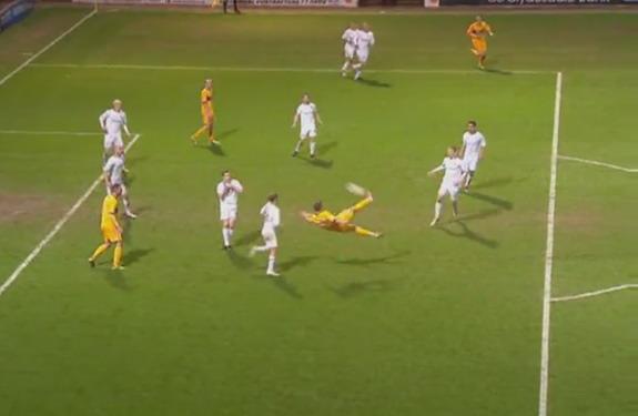 Kallum Higginbotham scores Motherwell's third goal against Hibernian with a scissor kick