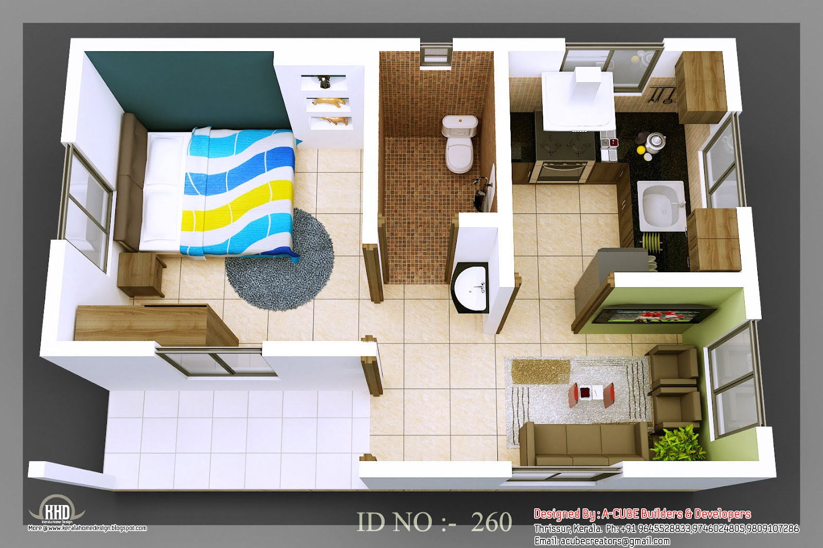 3d Isometric Views Of Small House Plans Kerala Home