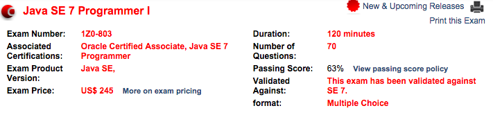 OCA java certification exam details