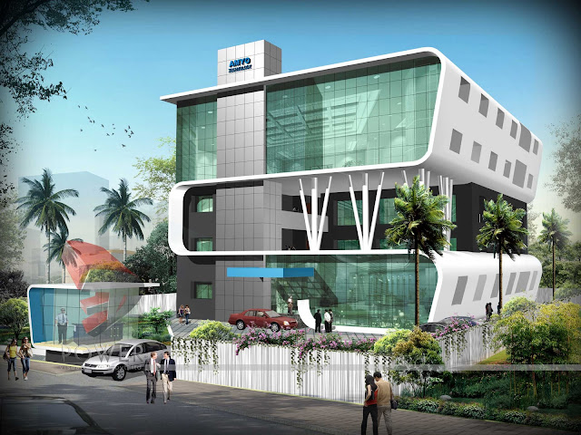 3d architectural exterior view hospital ,Hospital Architecture Design