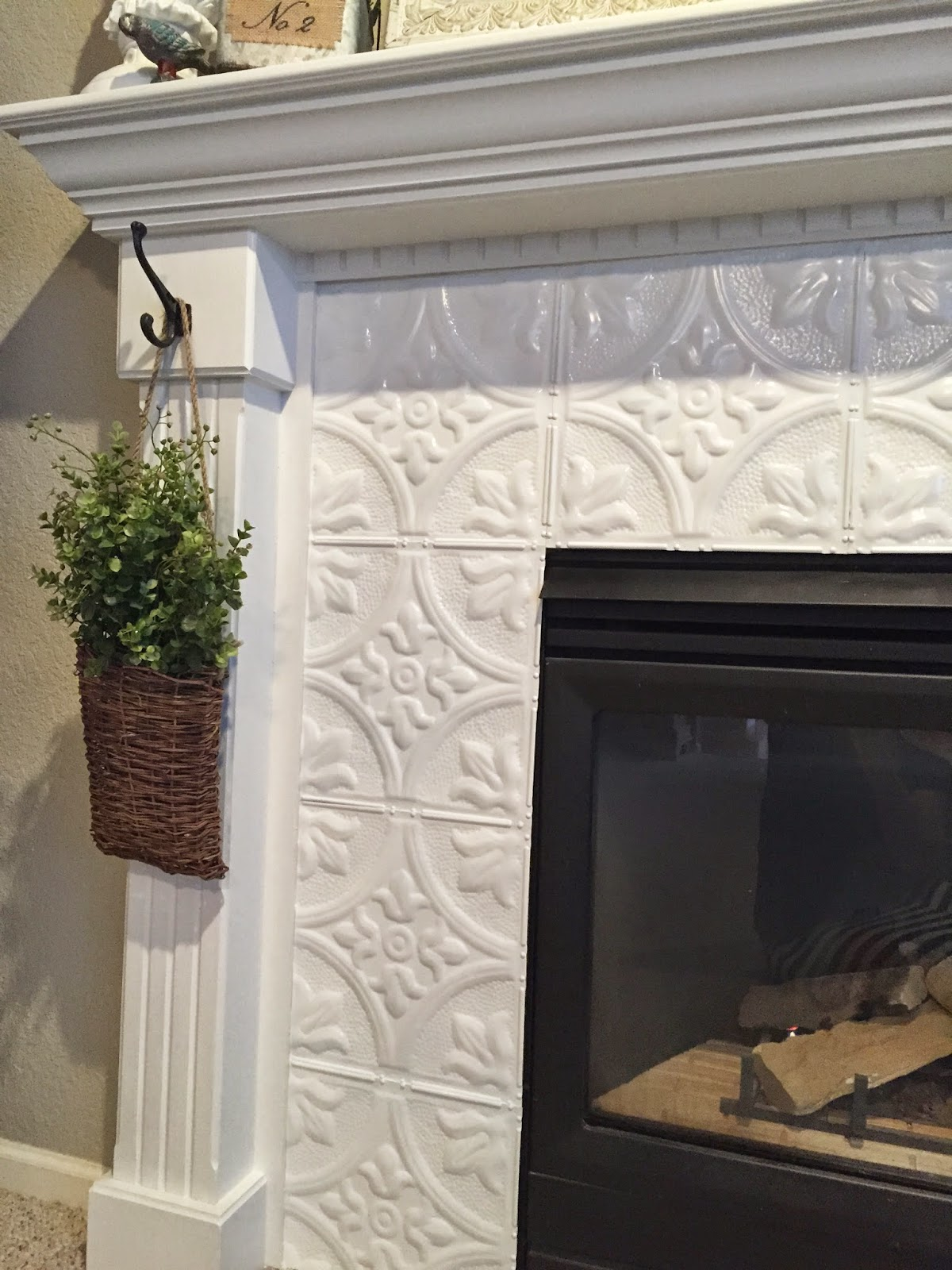 Tile Fireplace Makeover Naughton Your Life Fireplace Makeover With Tin Tile