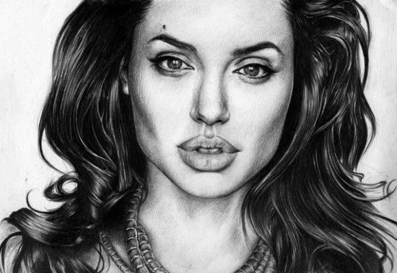 T.S. Abe desenhos a lápis hiper realistas retratos famosos Angelina Jolie