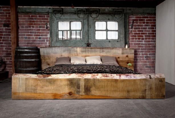 Il letto in legno grezzo   idea arredo