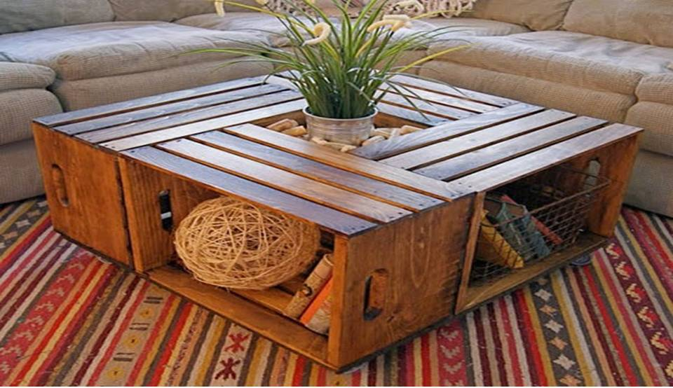 Home decor how to make a crate coffee table for How to make a coffee table out of crates