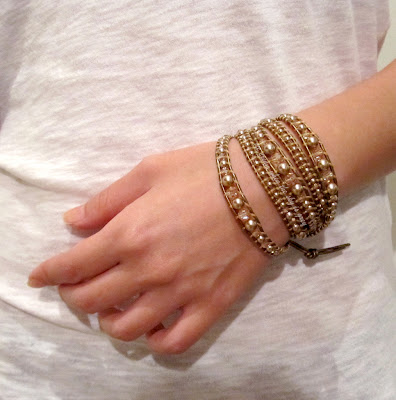 DIY Bracelet Tutorial: Swarovski Bronze Pearl & Crystal Golden Shadow Graduated Mix On Kansa Leather - Chan Luu Women's 5 Wrap