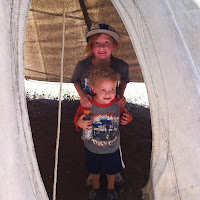 Kaiya and CJ in a teepee!