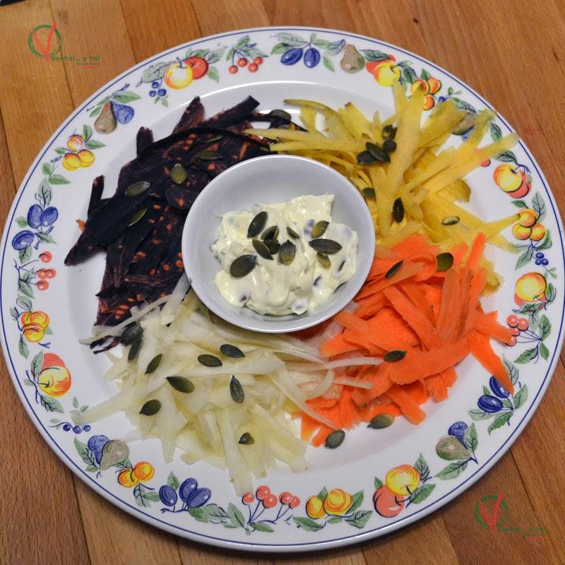 Ensalada multicolor de zanahorias.