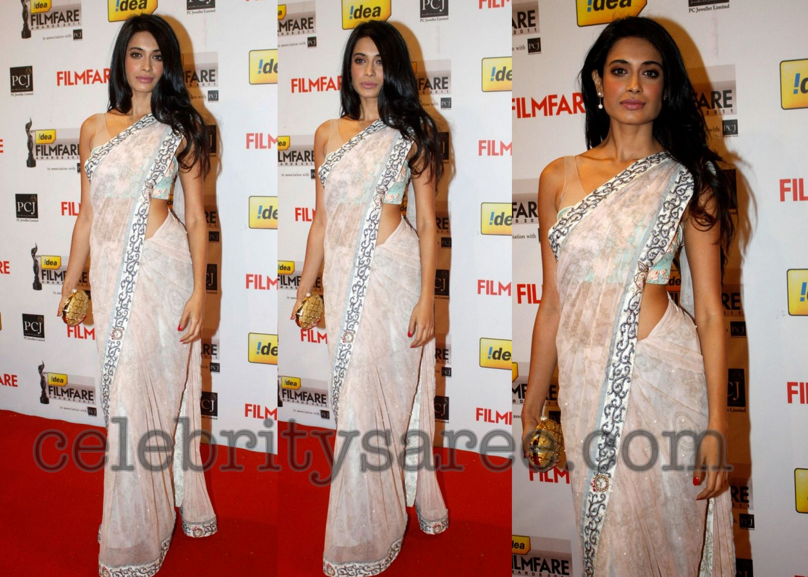 picture of dazzling black and off white bollywood sarees