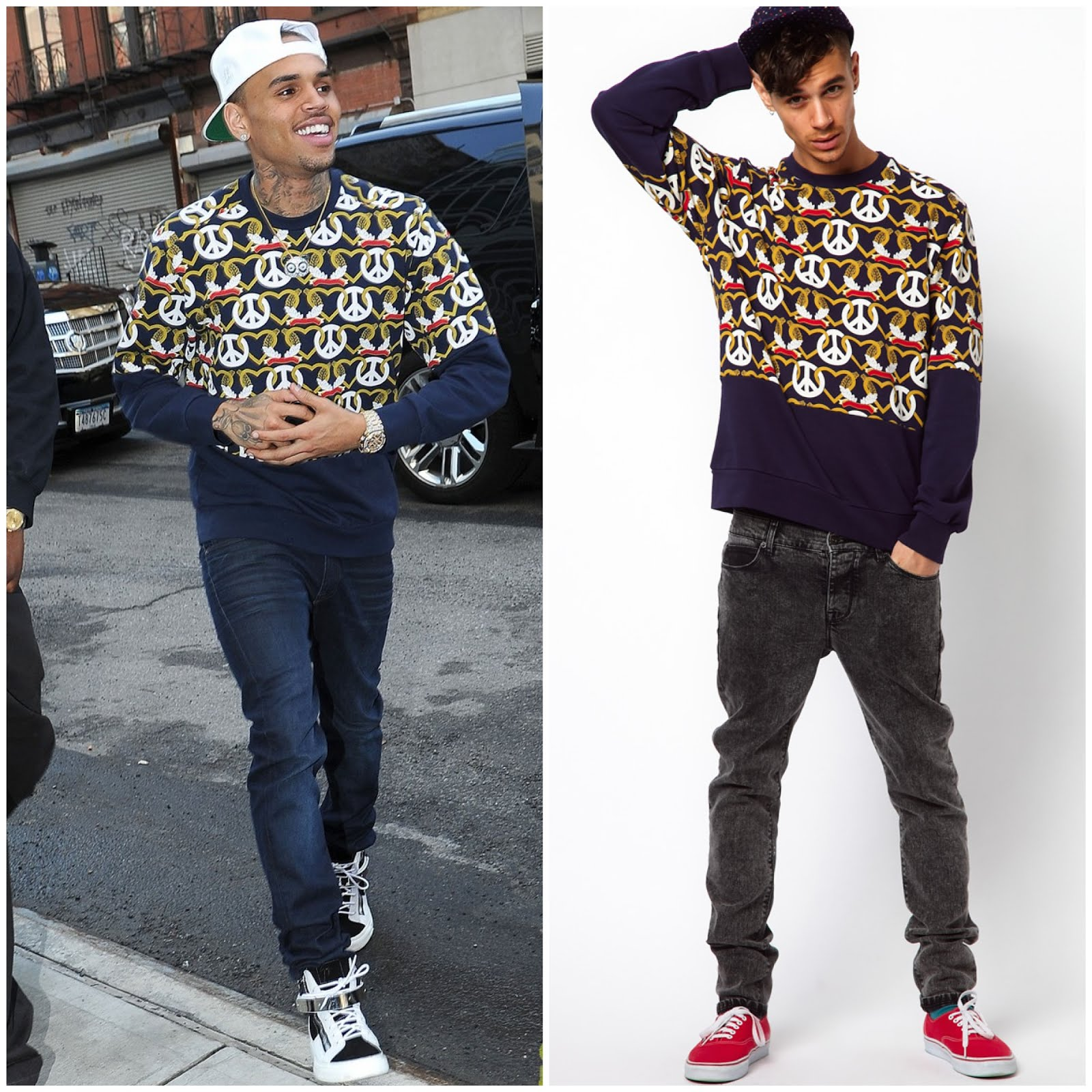 00O00 Menswear Blog Chris Brown in Christopher Shannon Kidda sweatshirt from ASOS - New York city March 2013