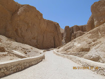 Walking path and cliffs of Valley of The Kings, West Bank, Luxor, Egypt