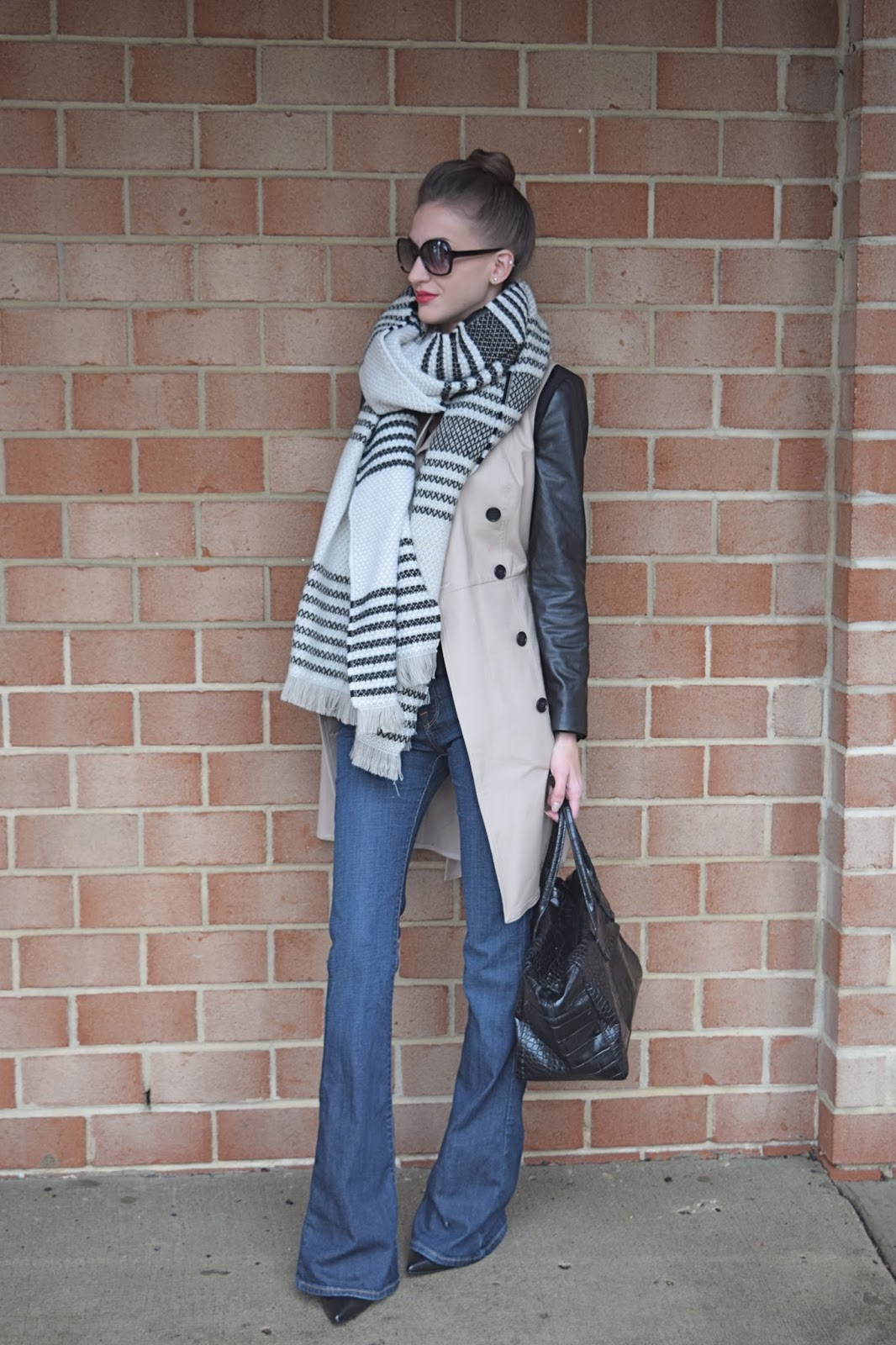 Wearing leather coat and flare jeans, Trench coat look with flare jeans