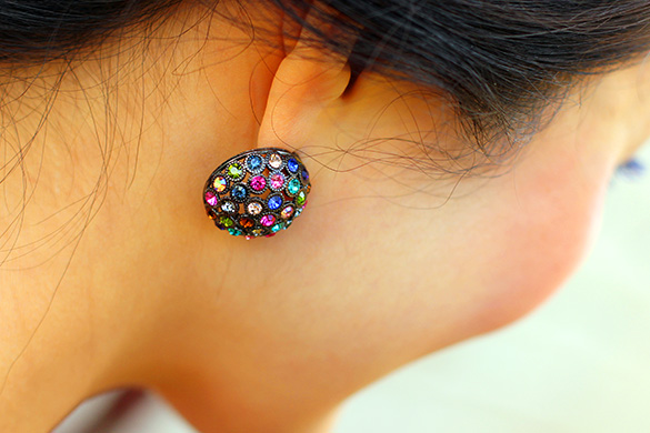 Mouche Colored Gem Studded Earrings