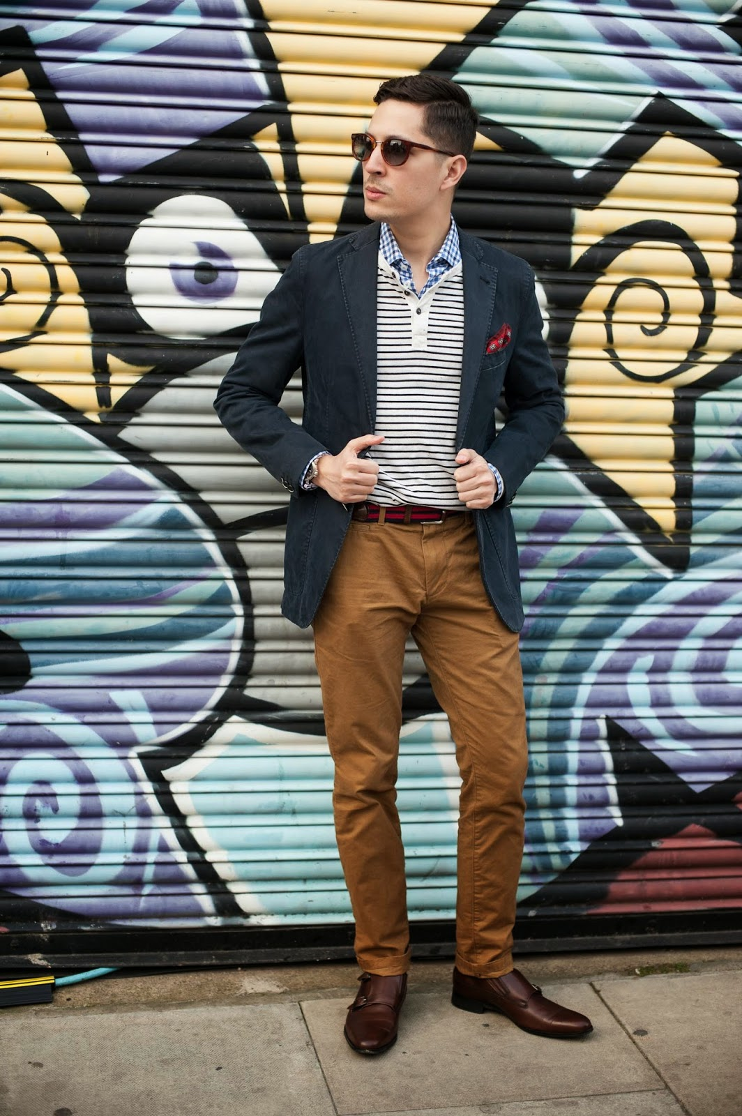 Herringbone Sydney Blazer, Herringbone Sydney Shirt, American Eagle Henley, Gap Chinos, Herringbone Sydney belt, Regal Japan Monk Straps, Herringbone Sydney Pocket Square, Oscar Wylee Sunglasses, Seiko Watch