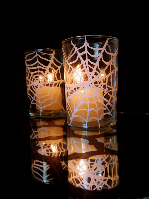 Easy to make spider webbed glass votive candle holders using chalk markers