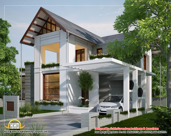 European style home sloping roof in Kerala - 170 Sq. M.(1829 Sq.Ft.)February 2012