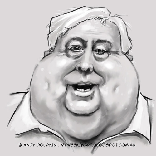 Clive Palmer digital caricature by Andy Dolphin