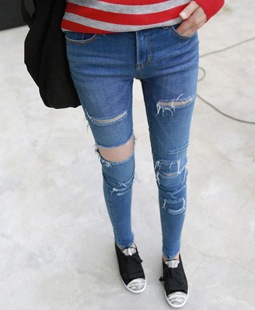 Original 2014 Women Leopard Torn Jeans Fashion Jeans Pencil High Waist Jeans