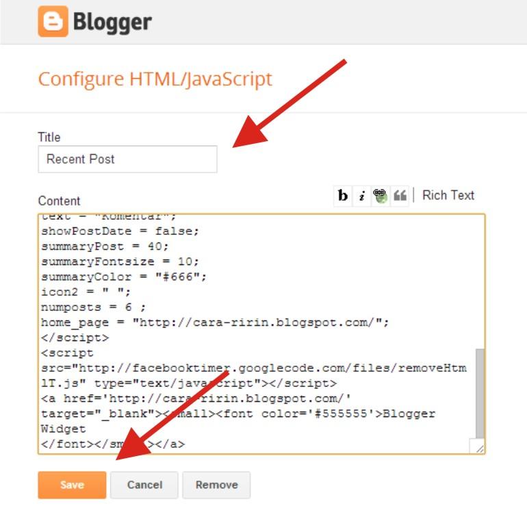 Cara Membuat Widget Posting Terbaru Tumbnail