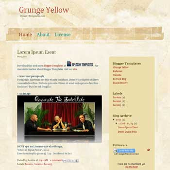 Grunge Yellow blogger template.download grunge background blogger template